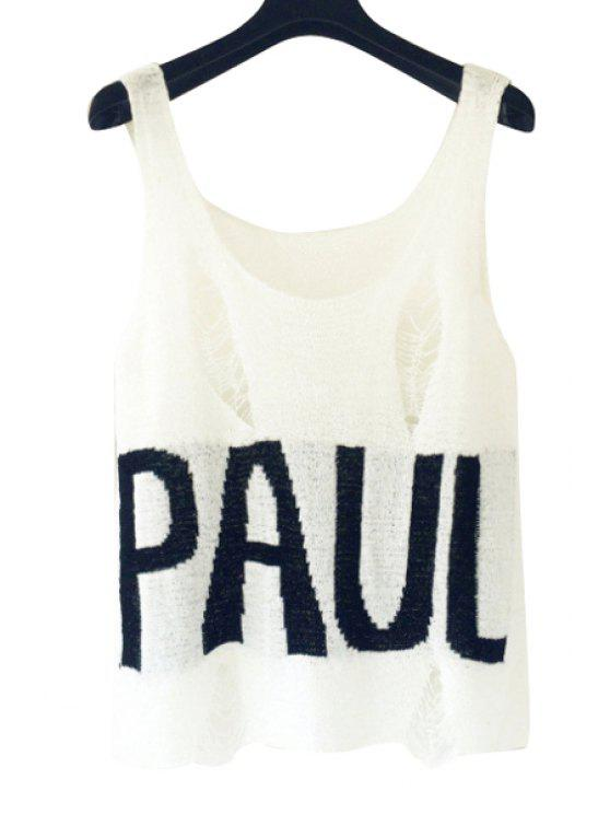 ladies Letter Print Openwork Sleeveless Tank Top - WHITE ONE SIZE(FIT SIZE XS TO M)