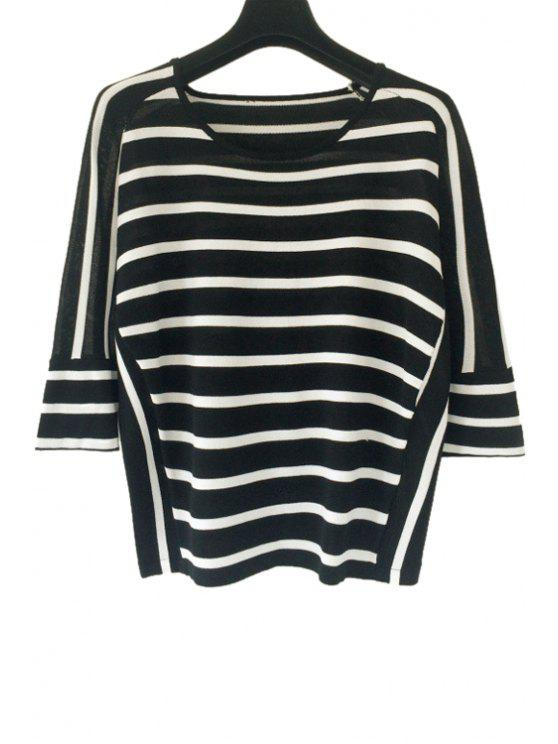 unique Black White Stripe 3/4 Sleeve Sweater - BLACK ONE SIZE(FIT SIZE XS TO M)