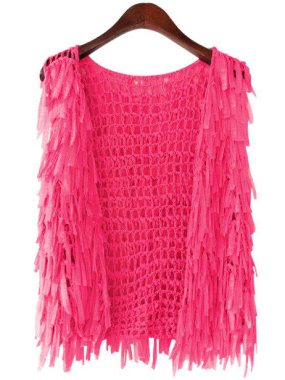 affordable Collarless Solid Color Mesh Fringe Cardigan - ROSE ONE SIZE(FIT SIZE XS TO M)