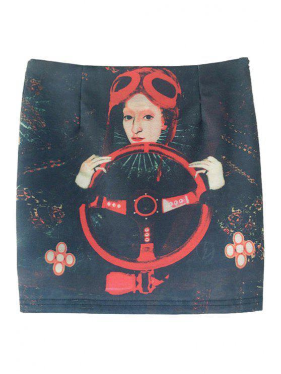 ladies Steering Wheel Figure Print Skirt - BLACK S
