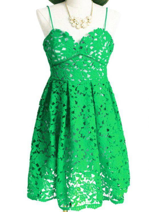 fancy Spaghetti Strap Floral Pattern Openwork Dress - GREEN S