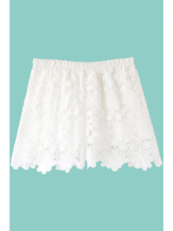 sale Solid Color Floral Pattern Lace Shorts - WHITE ONE SIZE(FIT SIZE XS TO M)