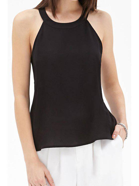 online Solid Color Backless Sleeveless Tank Top - BLACK M