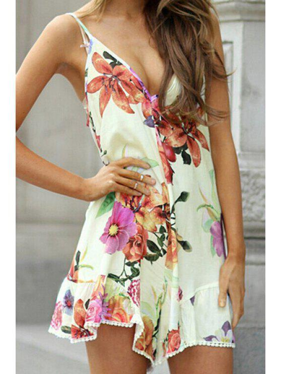 best Spaghetti Strap Floral Print Backless Romper - WHITE S