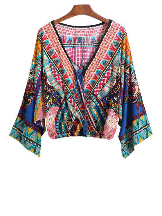 ladies V-Neck Color Block Print Tie-Up crop blouse Kimono - COLORMIX ONE SIZE(FIT SIZE XS TO M)
