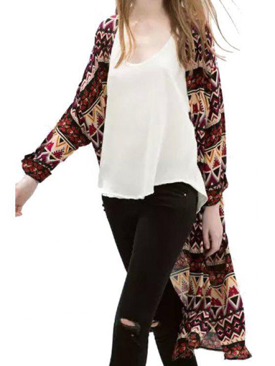 sale Argyle Floral Print Long Sleeve Kimono - COLORMIX M