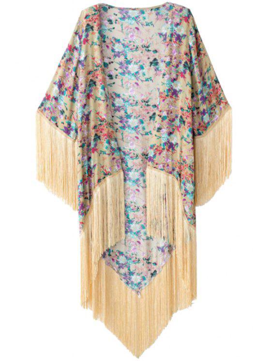 new Colorful Floral Print Tassel Splicing Kimono - COLORMIX S
