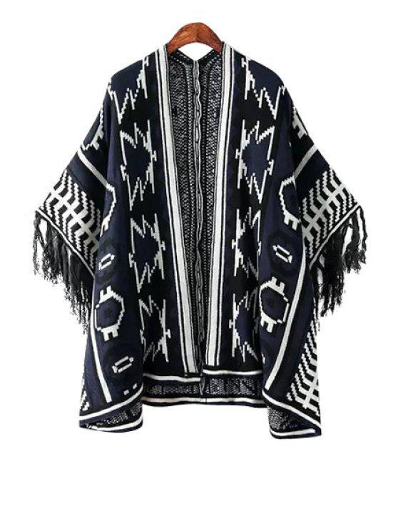 trendy Geometric Pattern Color Block Fringe Kimono Cardigan - WHITE AND BLACK ONE SIZE(FIT SIZE XS TO M)