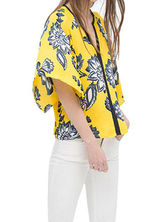 trendy V-Neck Floral Print Half Sleeve Kimono - YELLOW S