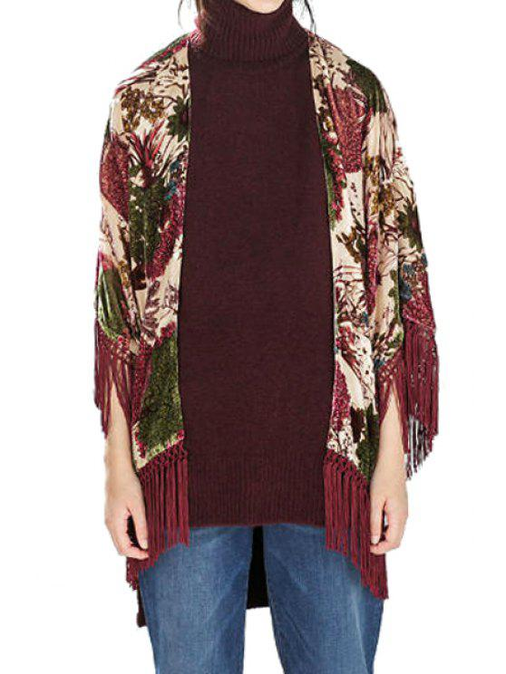 unique Floral Print Collarless Tassel Half Sleeve Kimono - COLORMIX S