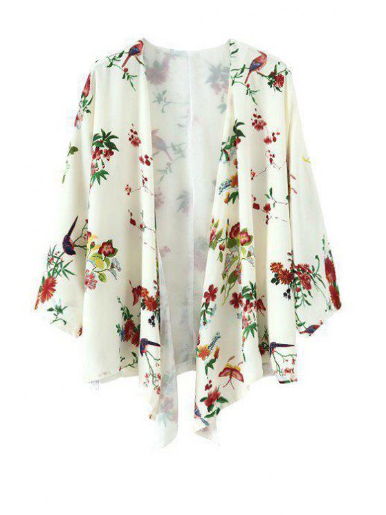 Pájaro de la impresión floral de la manga 3/4 Kimono - Blanco M