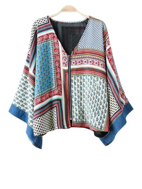 best Tiny Floral Print Color Block Long Sleeve Kimono - COLORMIX M