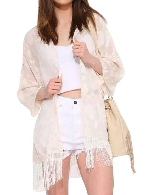 chic Floral Pattern Embroidery Fringe Long Sleeve Kimono - WHITE ONE SIZE(FIT SIZE XS TO M)