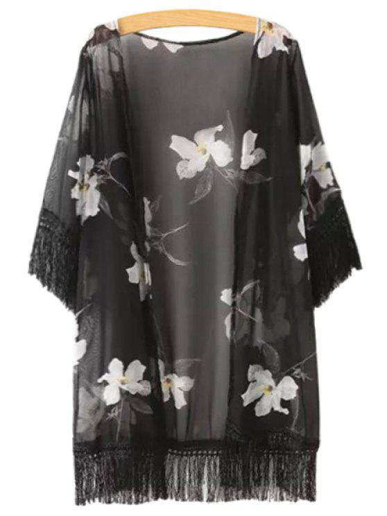 lady Black Fringe Splicing White Floral Print Half Sleeve Kimono - BLACK ONE SIZE(FIT SIZE XS TO M)