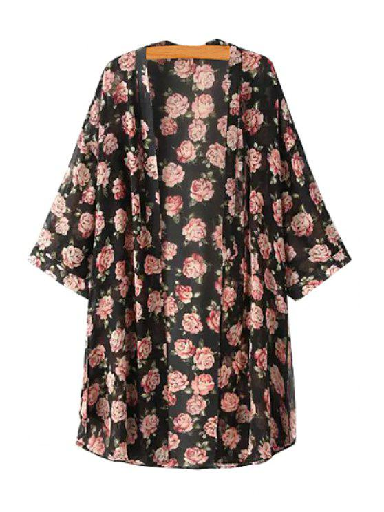 trendy Collarless See Through Floral Print Kimono - AS THE PICTURE S