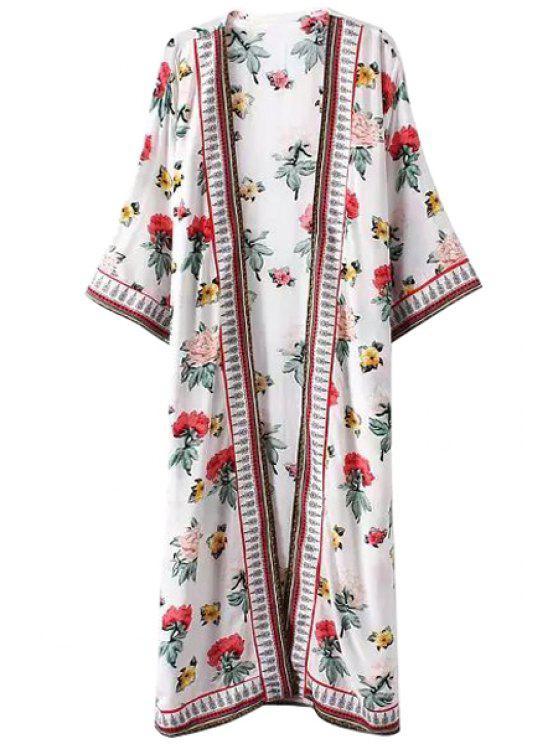 shop Colorful Floral Print Long Sleeve Kimono - WHITE L