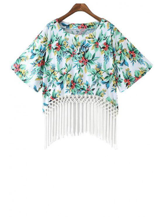 fancy Floral Print Fringe Short Sleeve Kimono - WHITE AND GREEN M