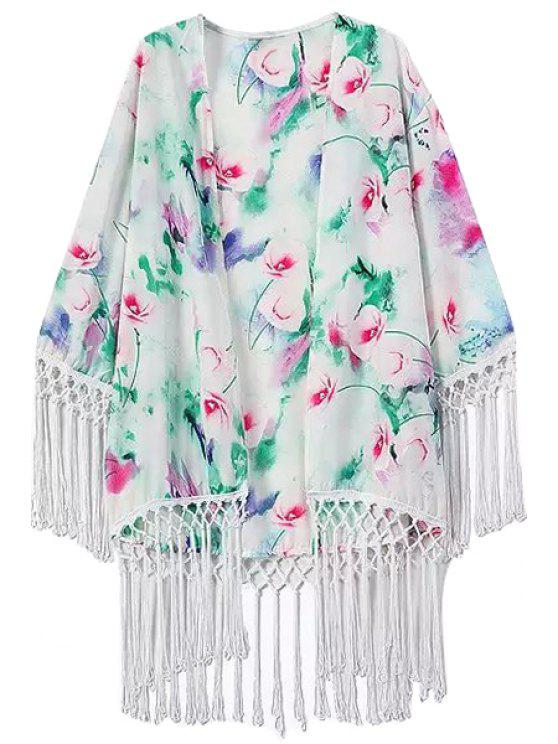 unique Fringe Floral Print Collarless Long Sleeve Kimono - WHITE S