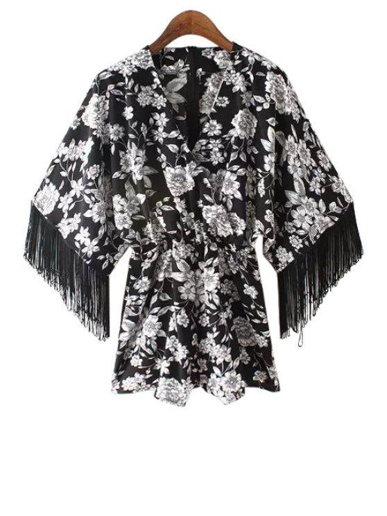 sale Floral Print Fringe Long Sleeve Kimono Romper - WHITE AND BLACK S