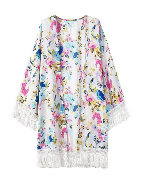 sale Floral Print Fringe Long Sleeve Kimono - WHITE ONE SIZE(FIT SIZE XS TO M)
