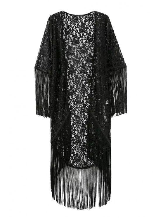 fancy Solid Color Fringe See-Through Half Sleeve Kimono - BLACK M