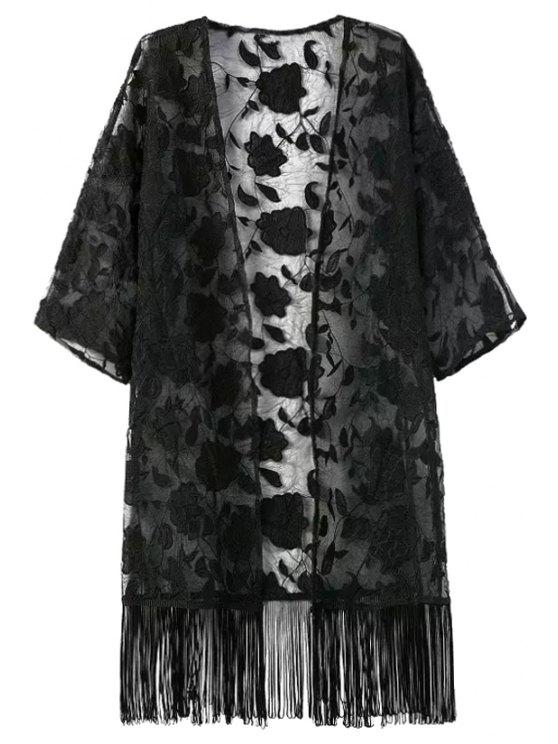 trendy Fringe Floral Pattern Embroidery Half  Sleeve Kimono - BLACK S