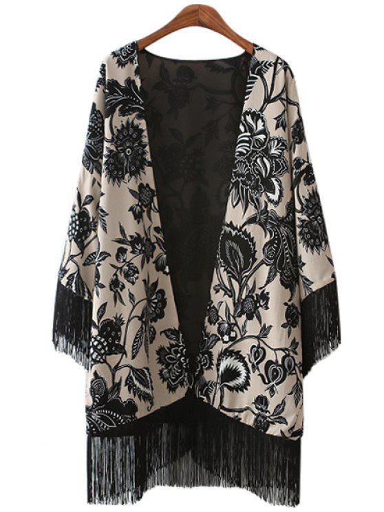 hot Black Floral Print Fringe Long Sleeve Kimono - BLACK S