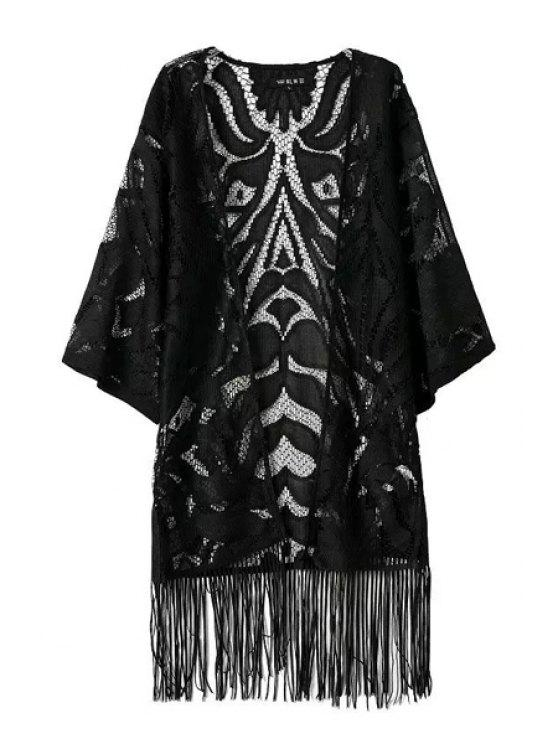 latest Lace Openwork Solid Color Fringe Kimono - BLACK S