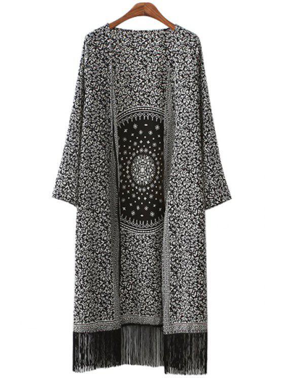 chic Round Pattern Print Fringe Long Sleeve Kimono - WHITE AND BLACK S