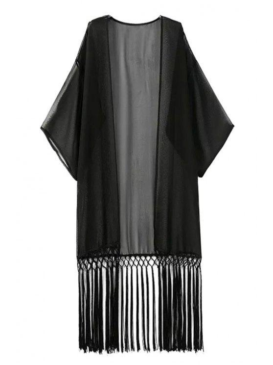 shop Solid Color Tassel Splicing Half Sleeve Kimono - BLACK S