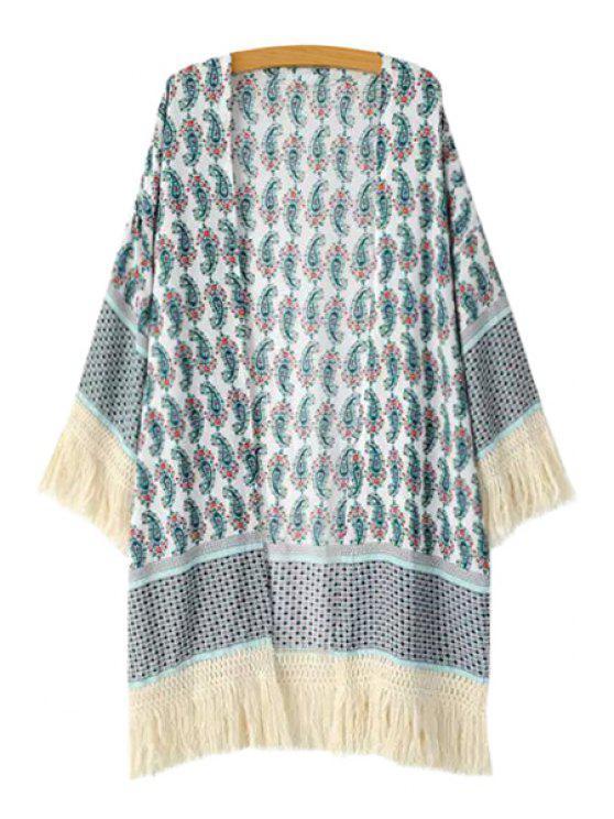 Kimono à manches longues avec imprimé Paisley - Multicolore S