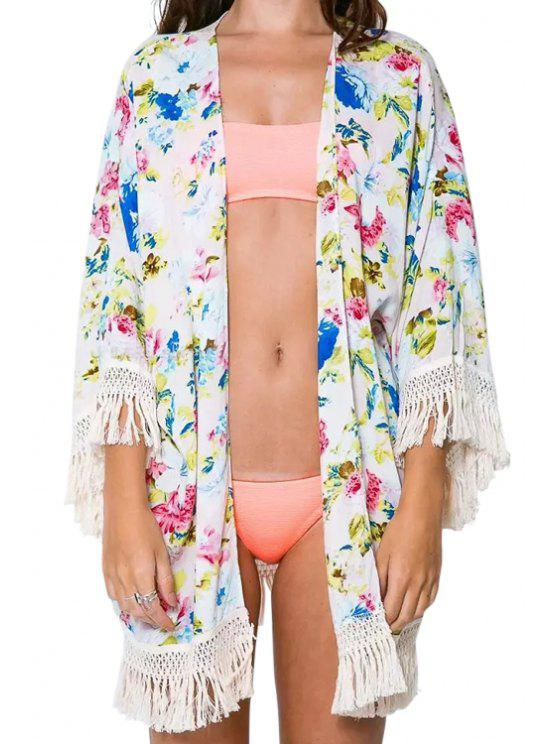shops Full Floral Tassels 3/4 Sleeve Kimono - WHITE ONE SIZE(FIT SIZE XS TO M)