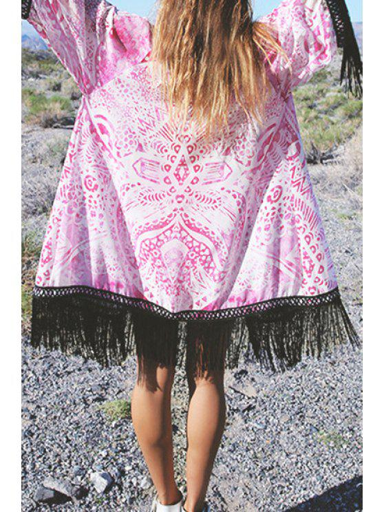 Collarless Impreso borla empalmada Kimono Blusa - Rosa L