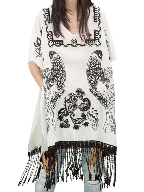 ladies Short Sleeve Embroidery Tassels Spliced Blouse - WHITE ONE SIZE(FIT SIZE XS TO M)