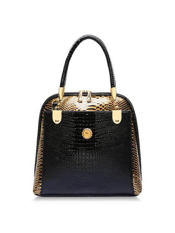 31a7cacda547 Stylish Style Snake Print And PU Leather Design Women s Tote Bag - Black