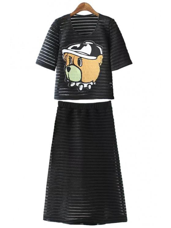 fancy Cartoon Hollow T-Shirt and A-Line Skirt Suit - BLACK M