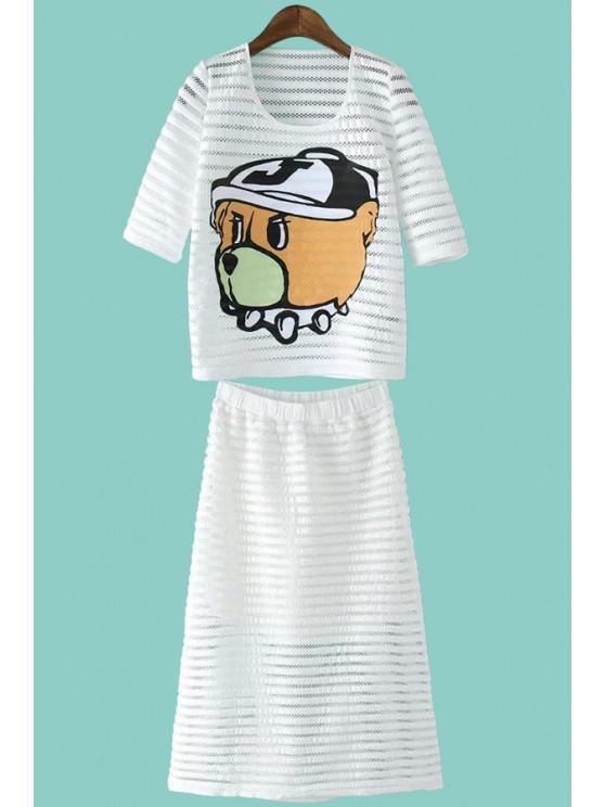 ladies Cartoon Hollow T-Shirt and A-Line Skirt Suit - WHITE M