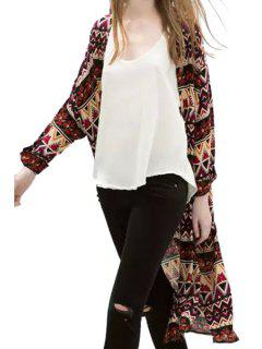 Argyle Blumendruck Langarm Kimono - L