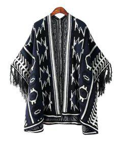 Geometric Pattern Color Block Fringe Kimono Cardigan - White And Black