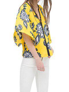 Cuello En V Estampado De Flores Manga Media Kimono - Amarillo L