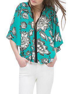 V-Neck Floral Print Half Sleeve Kimono - Green L