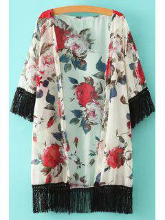 Floral Print Black Fringe Splicing Half Sleeve Kimono - White