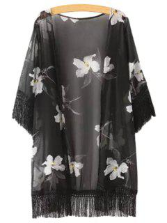 Black Fringe Splicing White Floral Print Half Sleeve Kimono - Black