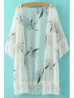 Blanco Fringe Splicing Kimono Medio Imán De Imitación Floral - Blanco