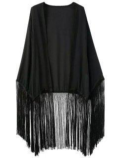 Negro De Gasa Manga Larga Kimono Blusa - Negro L