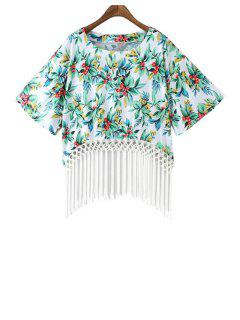 Floral Print Fringe Short Sleeve Kimono - White And Green L