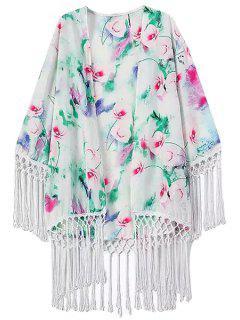 Fransen Blumendruck Kragenlose Langarm Kimono - Weiß L