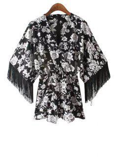 Floral Print Fringe Long Sleeve Kimono Romper - White And Black L