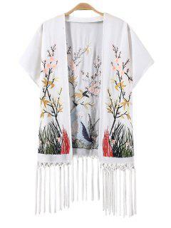 Floral Animal Embroidery Fringe Kimono - White L