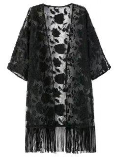 Fringe Floral Pattern Embroidery Half  Sleeve Kimono - Black L